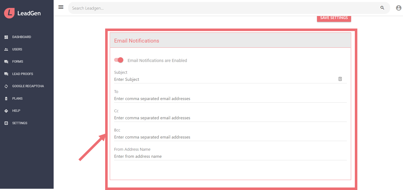 Settings to enter recipient, bcc, cc and from Address name for email notifications