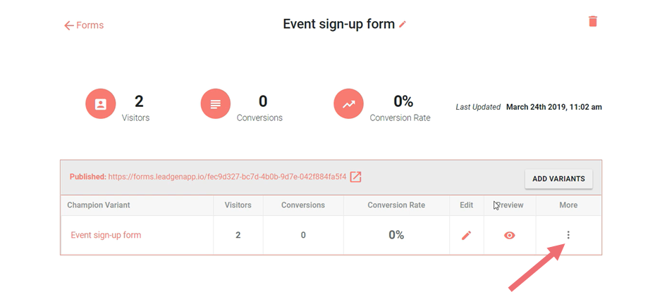 Form overview page
