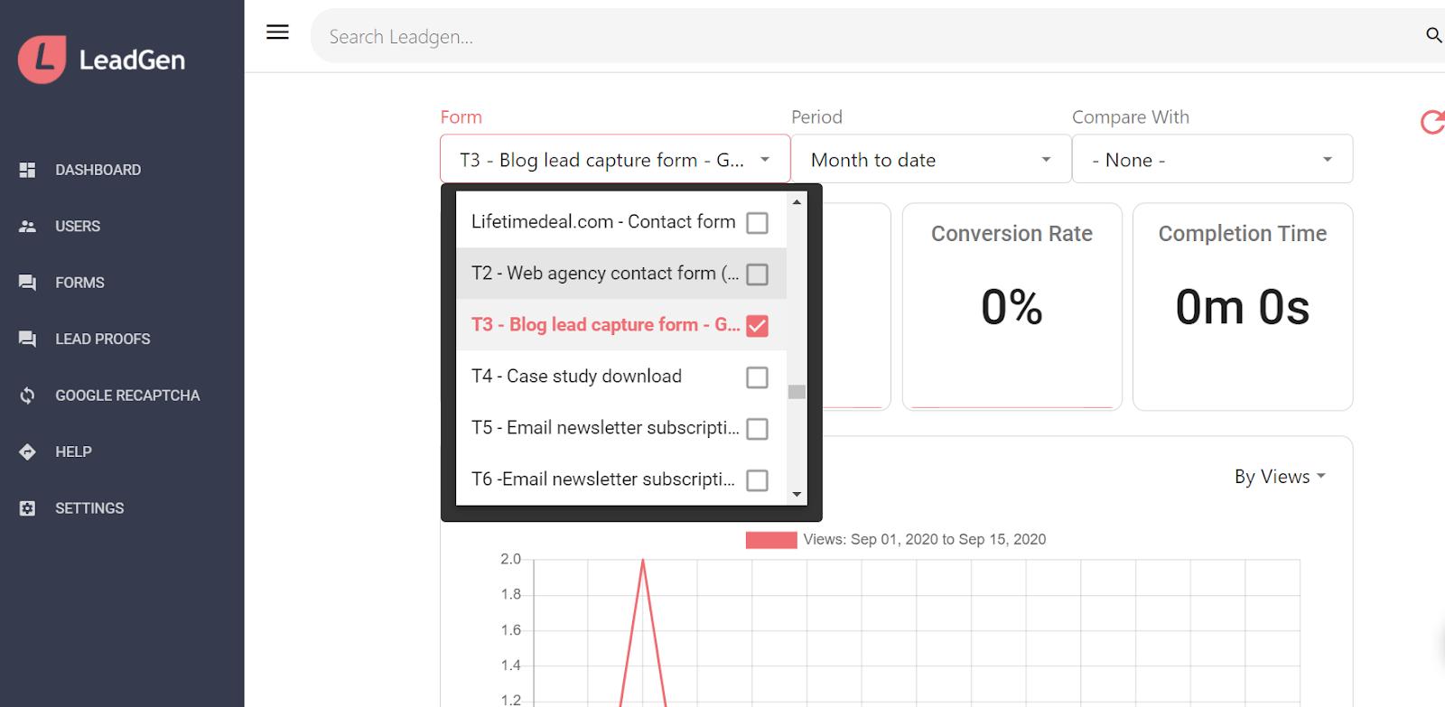 LeadGen App dashboard - Choose form to analyse performance
