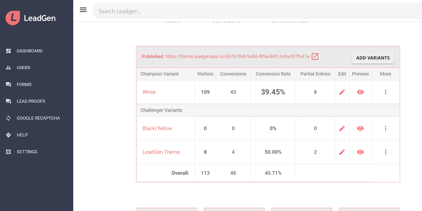 Form overview page - variants and metrics