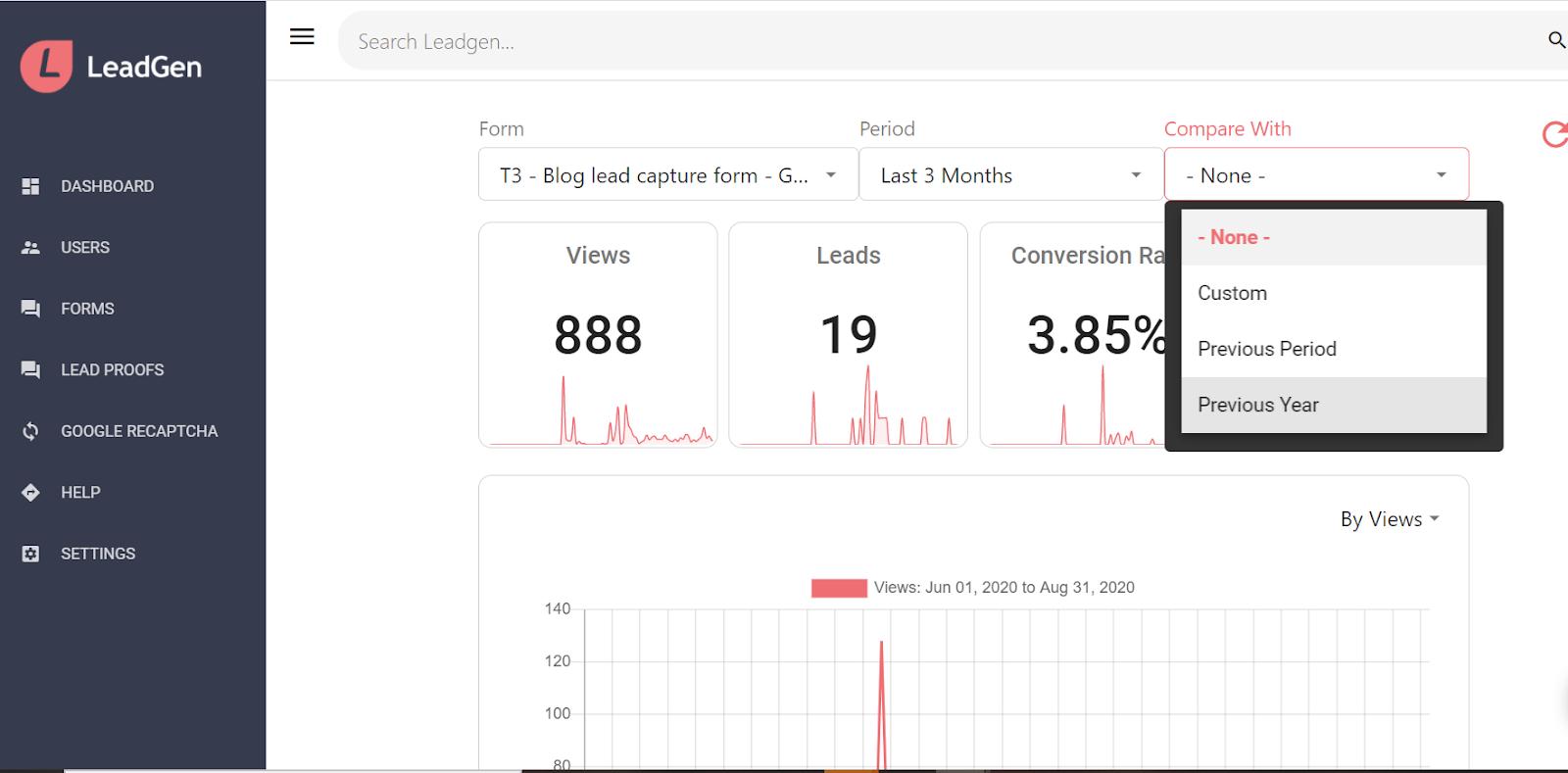 LeadGen App dashboard - Choose comparison period