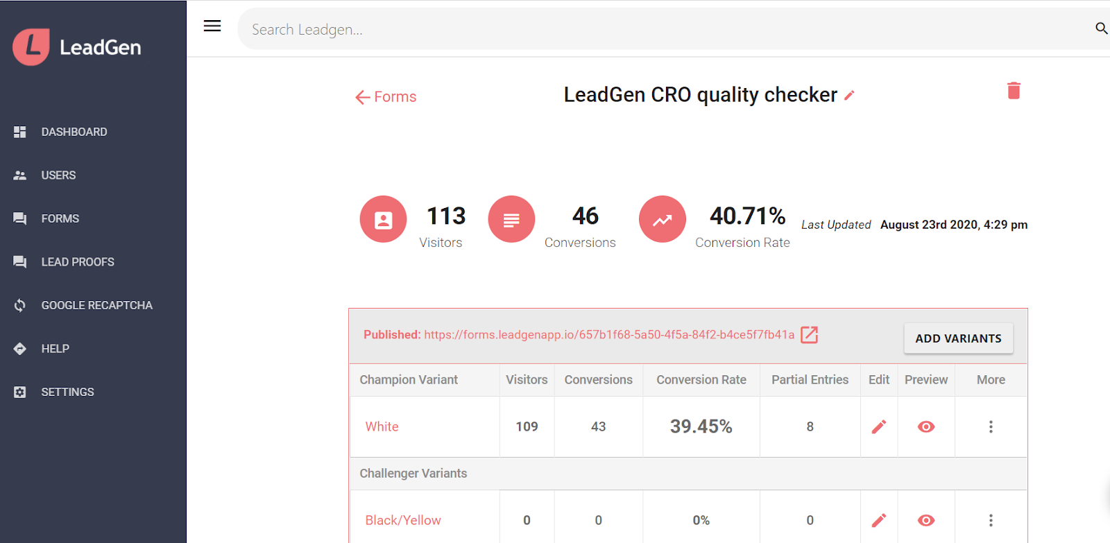 Form overview page - Key metrics