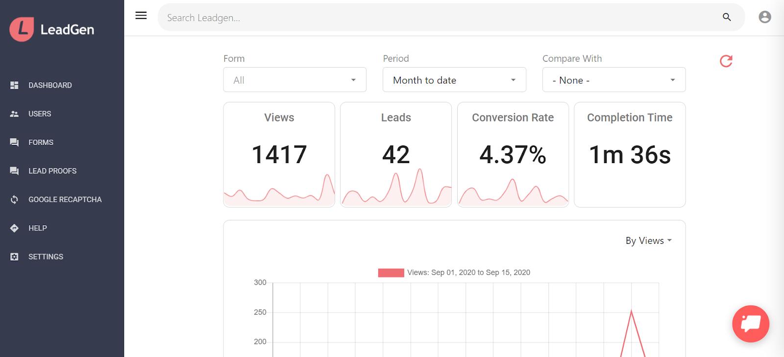LeadGen App dashboard