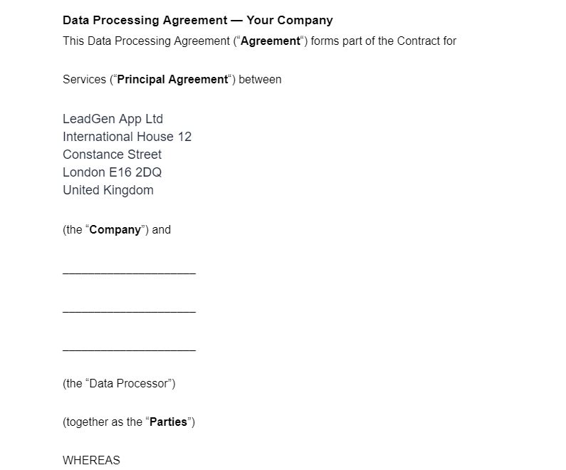 LeadGen App data processing agreement