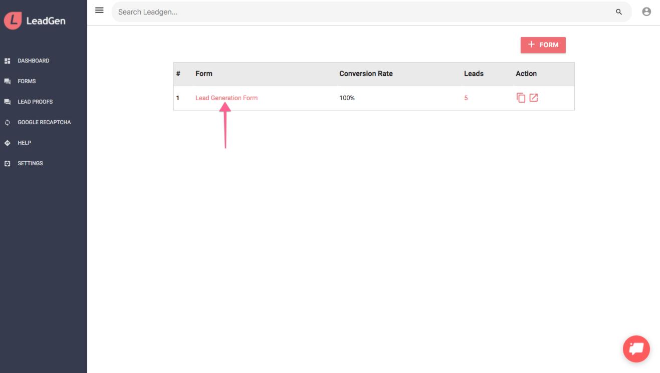 Open form in LeadGen App form list
