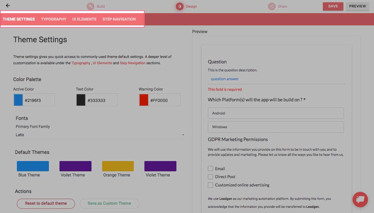 Menu in design section in LeadGen App form-builder