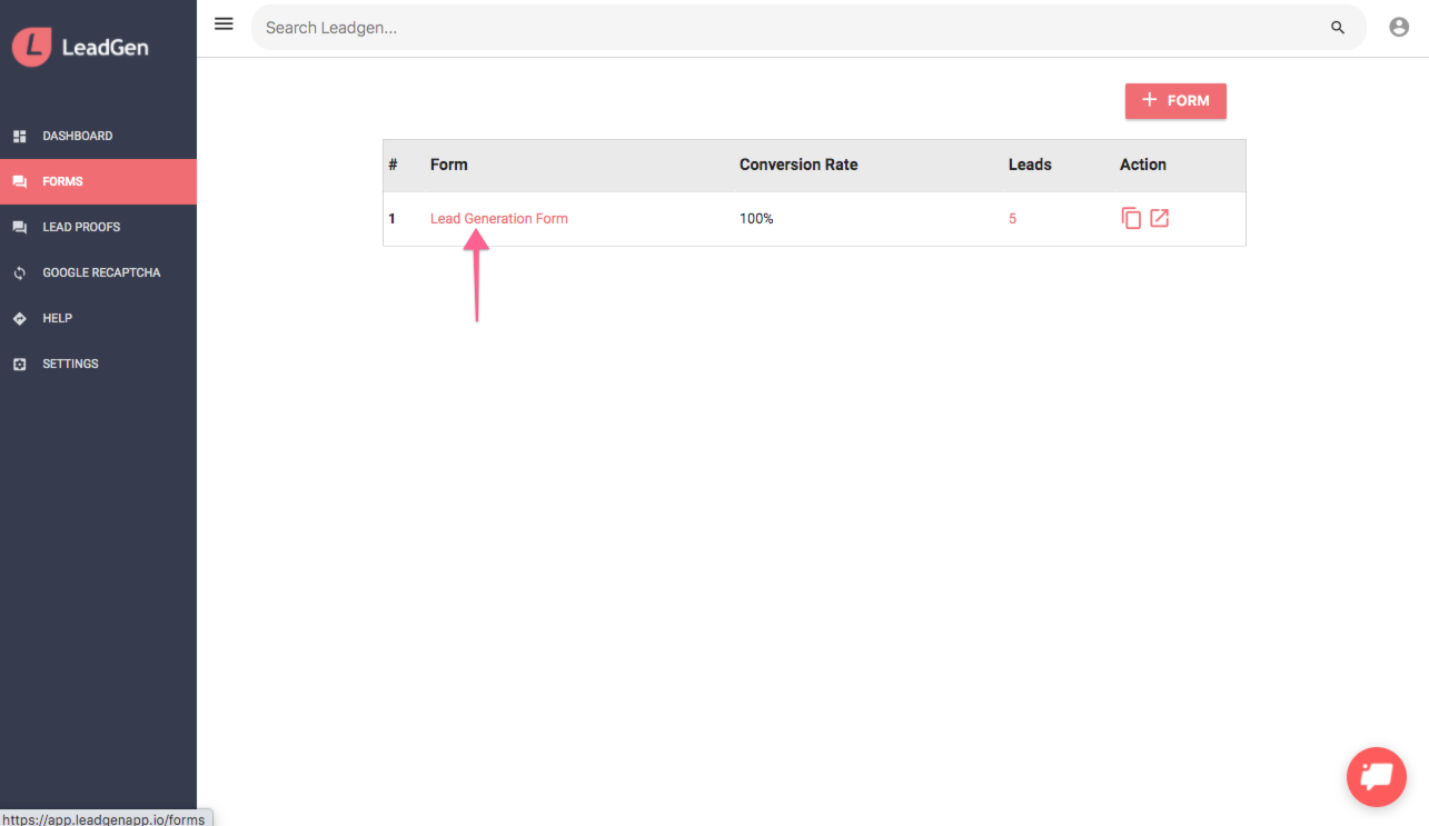 Access LeadGen form from form list