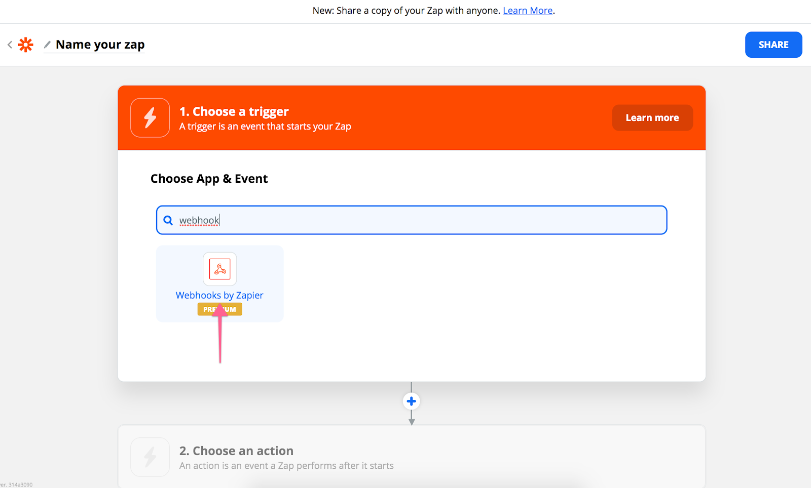 Choose Zapier trigger, Webhooks by Zapier