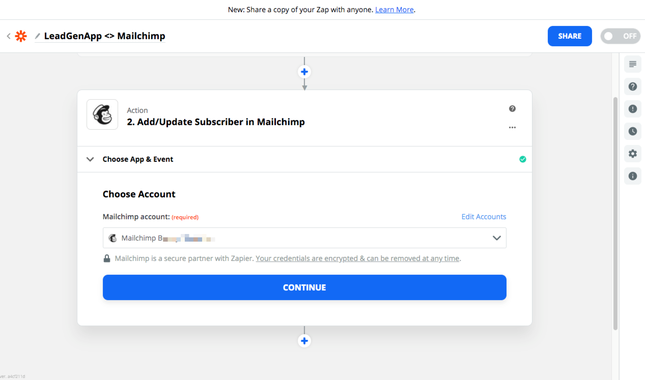 Add Mailchimp account in Zapier