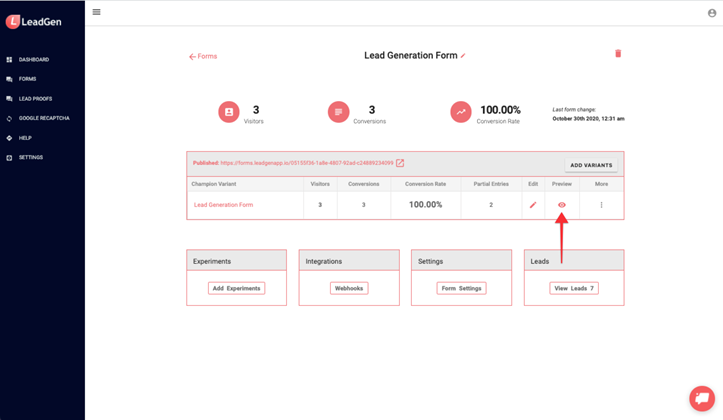 Preview LeadGen forms from form overview page
