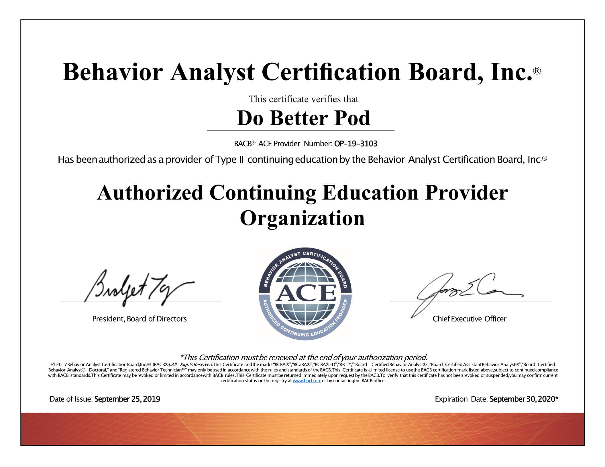 BACB ACE Certificate